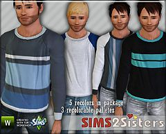 Sims 3 men, t-shirt, everyday, sweater