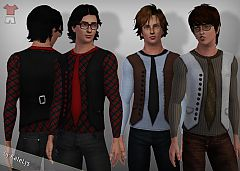 Sims 3 men, t-shirt, sweater, top, vest, tie, buttons