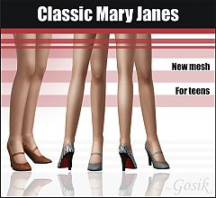 Sims 3 shoes, Mary Janes, designer, fashion, teen, heels
