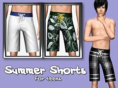Sims 3 shorts, bottom, clothing, male, teen