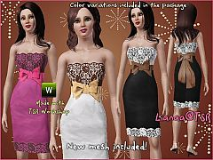 Sims 3 dress, lace, pencil, bow