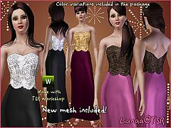 Sims 3 dress, elegant, corset, female, formal