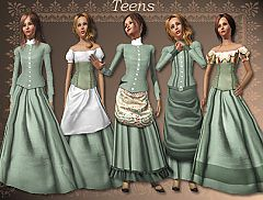 Sims 3 clothing, victorian, skirt, top, teen
