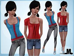 Sims 3 clothing, fashion, outfit, female, jeans, teen