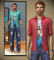 Sims 3 tee, top, male, clothing