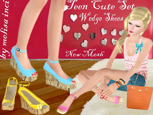 Sims 3 shoes, high heels, wedges, teen