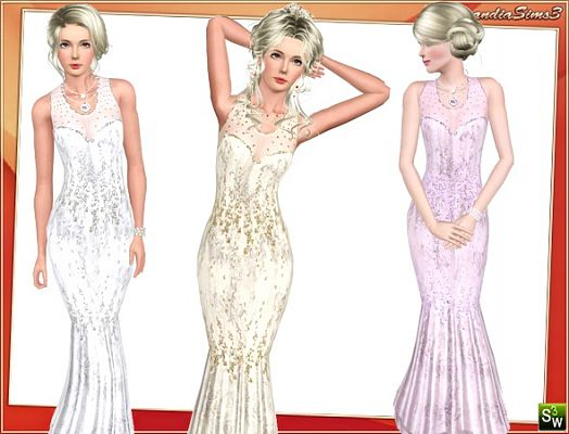 Sims 3 dress, cloth, clothes, outfit, wedding, gown, mermaid