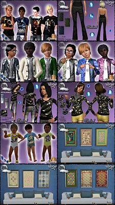 Sims 3 clothing, male, outfit, paintings, decor