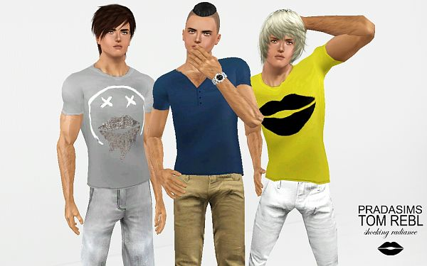 Sims 3 t-shirt, top, clothing, male