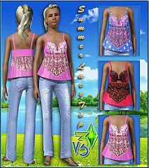 Sims 3 clothes, clothing, jeans, top, lace, fashion