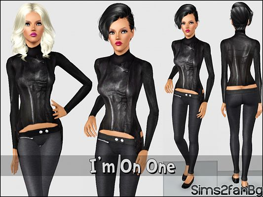 Sims 3 clothing, fashion, outfit, female, leather