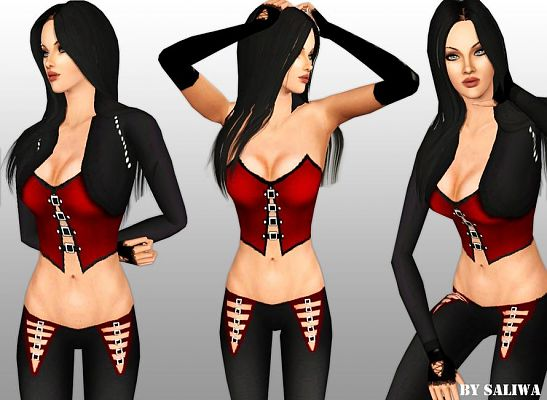 Sims 3 clothing, fashion, outfit, female, gothic