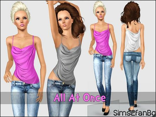 Sims 3 cloth, fashion, jeans, top, set