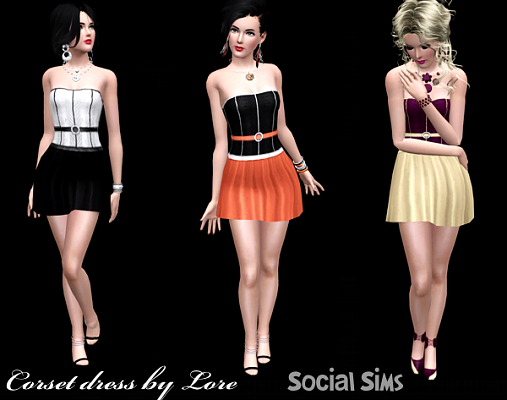 Sims 3 dress, corset, fashion, clothing, female, formal