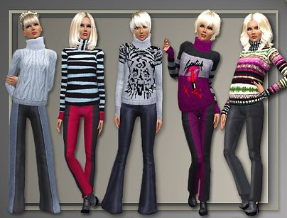 Sims 3 sweater, pants, clothing, outerwear, fashion, outfit