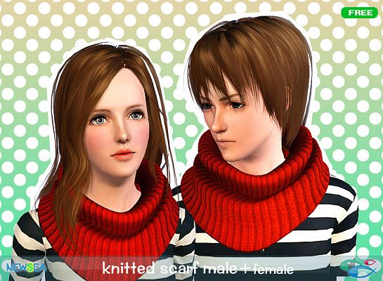 Sims 3 scarf, knit, accessories, female, male
