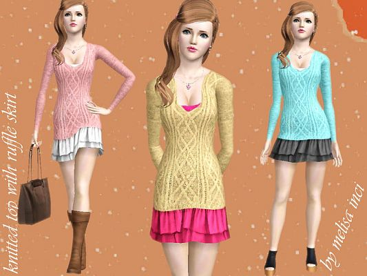 Sims 3 skirt, bottom, clothing, female, outfit
