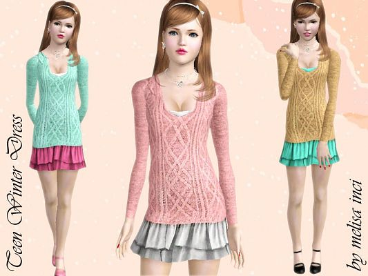 Sims 3 dress, fashion, clothing, female