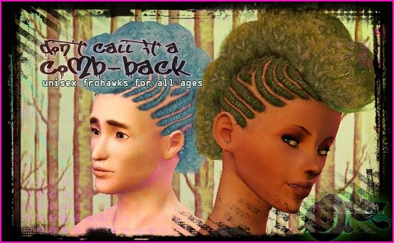 Sims 3 hair, genetics, afro, punk