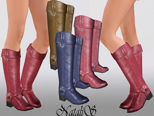 Sims 3 shoes, leather, fashion, female, boots