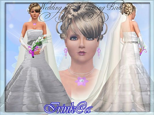 Sims 3 dress, gloves, bouquet, necklace, earrings, wedding