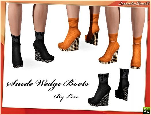 Sims 3 shoes, wedges, suede, fashion, female, boots