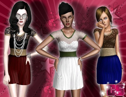 Sims 3 dress, fashion, clothing, female, formal, lace
