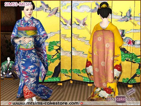 Sims 3 outfit, japanese, geisha
