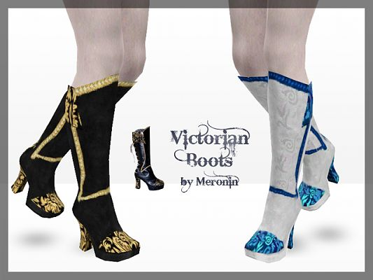 Sims 3 shoes, high heels, fashion, female, boots, victorian