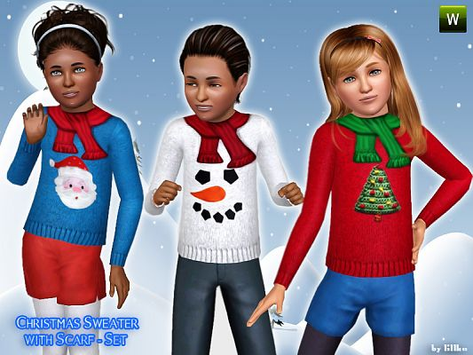 Sims 3 fashion, clothing, girls, scarf, sweater