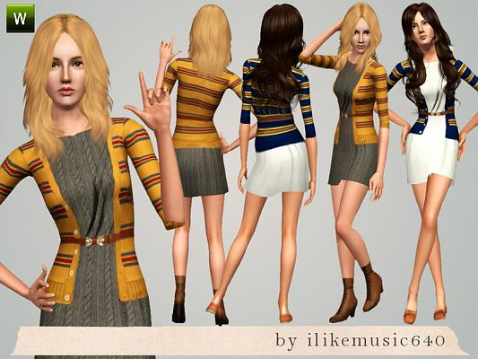 Sims 3 dress, fashion, clothing, female, sweater