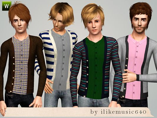 Sims 3 clothing, outfit, male, cardigan, shirt