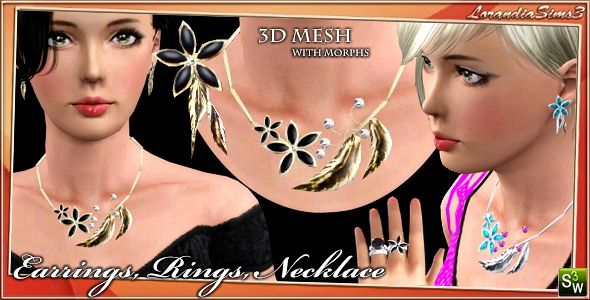 Sims 3 set, jewelry, ring, earrings, necklace, accessories