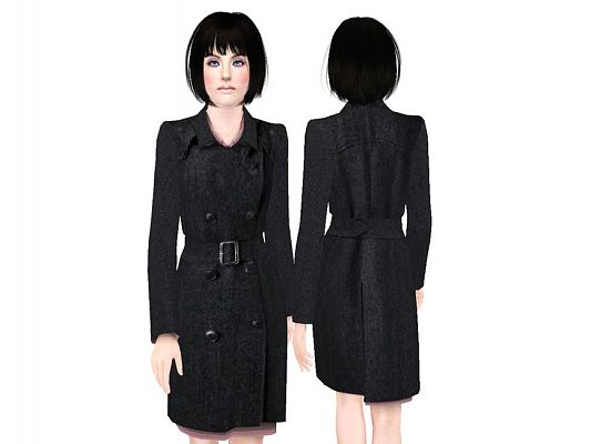 Sims 3 clothing, fashion, outfit, female, trenchcoat, outerwear