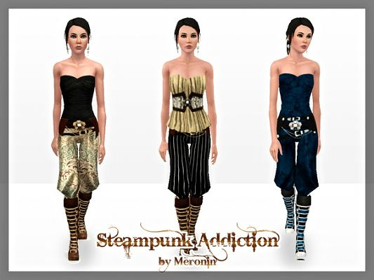 Sims 3 top, pants, boots, steampunk, set