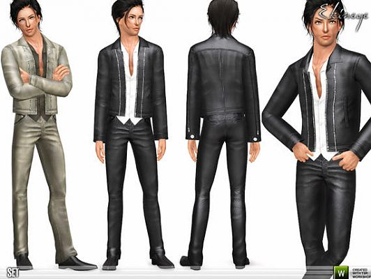 Sims 3 outfit, leather, jacket, pants, cloth, fashion