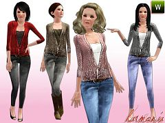 Sims 3 sweater, jeans, elder, cloth, fashion