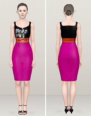 Sims 3 dress, gown, fashion, formal, female, designer