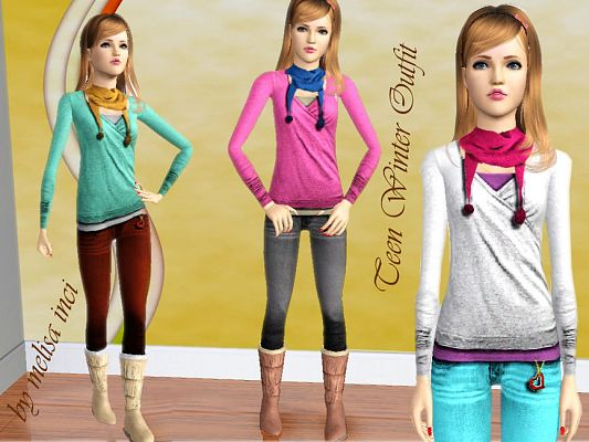 Sims 3 outfit, fashion, clothing, female, jeans, teen