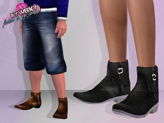 Sims 3 shoes, boots, leather