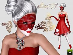 Sims 3 mask, venetian, costum, makeup