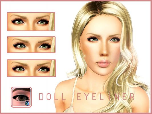 Sims 3 eyeliner, mascara, female, makeup