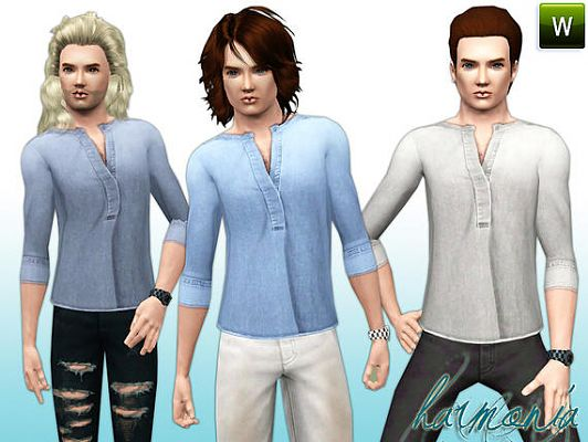 Sims 3 shirt, denim, clothing, male