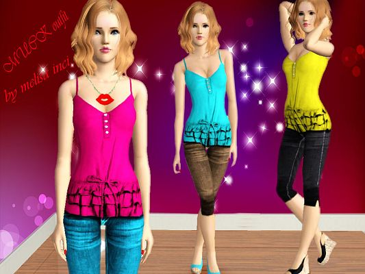 Sims 3 outfit, fashion, clothing, female, jeans