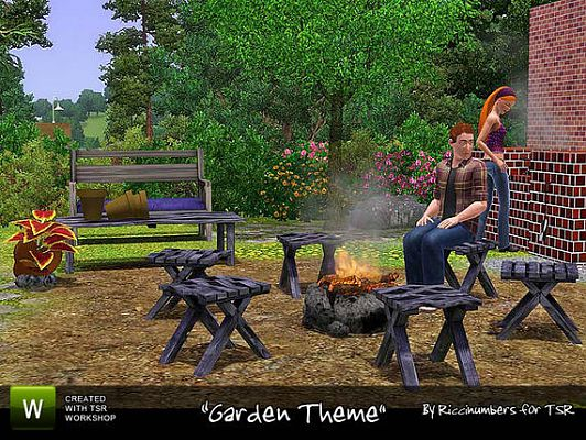 Sims 3 fire pit, chair, coffee table, bench, plant