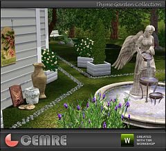 Sims 3 pot box, Angel fountain, old vases, fence, stones