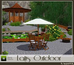 Sims 3 umbrella, chair, table, animated firepit, and decorative stepping stone