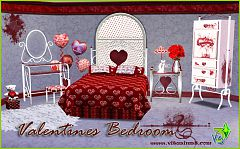 Sims 3 bedroom, Valentines, buy, bed, mirror, stool