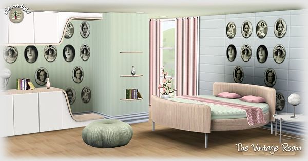 Sims 3 vintage, bedroom, furniture, objects