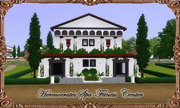 Sims 3 spa, fitness, center, lot, community